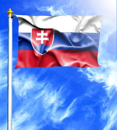 hanged: Blue sky and mast with hanged waving flag of Slovakia