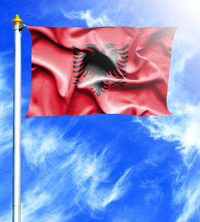 mast: Blue sky and mast with hanged waving flag of Albania