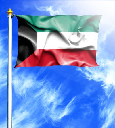hanged: Blue sky and mast with hanged waving flag of Kuwait