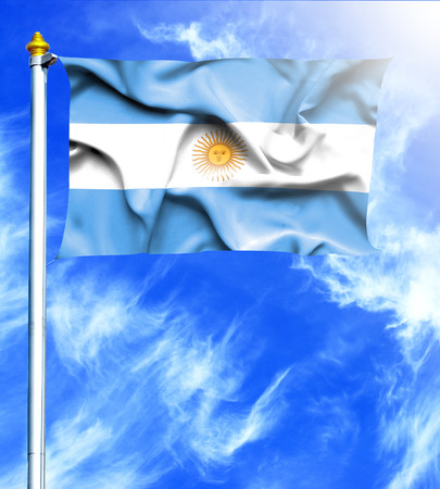 mast: Blue sky and mast with hanged waving flag of Argentina Stock Photo