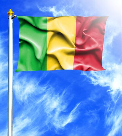 hanged: Blue sky and mast with hanged waving flag of Mali