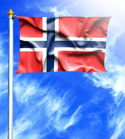 mast: Blue sky and mast with hanged waving flag of Norway