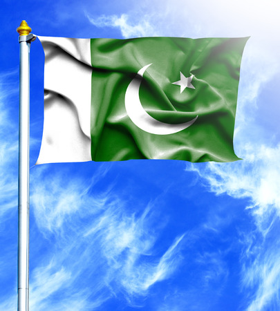 mast: Blue sky and mast with hanged waving flag of Pakistan