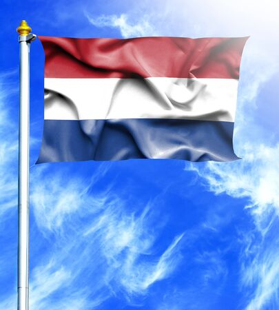 mast: Blue sky and mast with hanged waving flag of Netherlands