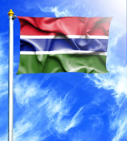 hanged: Blue sky and mast with hanged waving flag of Gambia