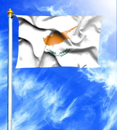 hanged: Blue sky and mast with hanged waving flag of Cyprus Stock Photo