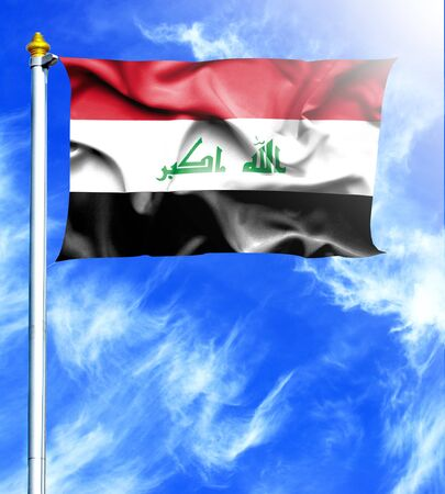 mast: Blue sky and mast with hanged waving flag of Iraq