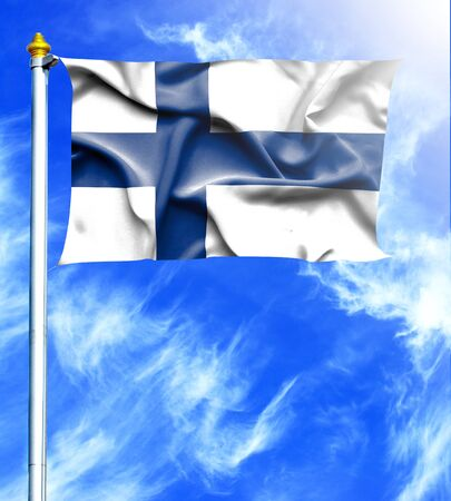 hanged: Blue sky and mast with hanged waving flag of Finland