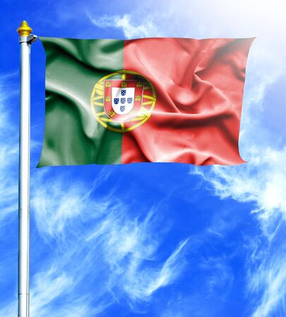 portugese: Blue sky and mast with hanged waving flag of Portugal