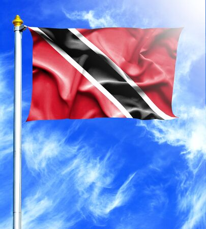 hanged: Blue sky and mast with hanged waving flag of Trinidad and Tobago