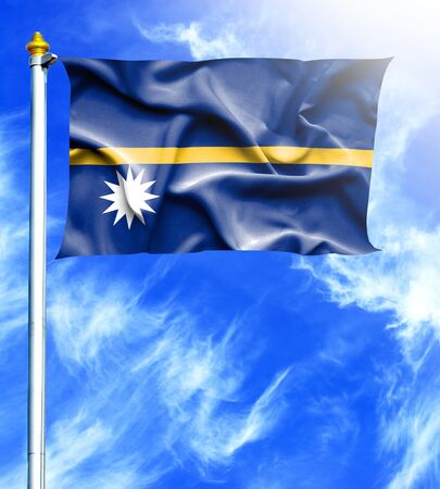 nauru: Blue sky and mast with hanged waving flag of Nauru