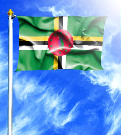 dominica: Blue sky and mast with hanged waving flag of Dominica Stock Photo