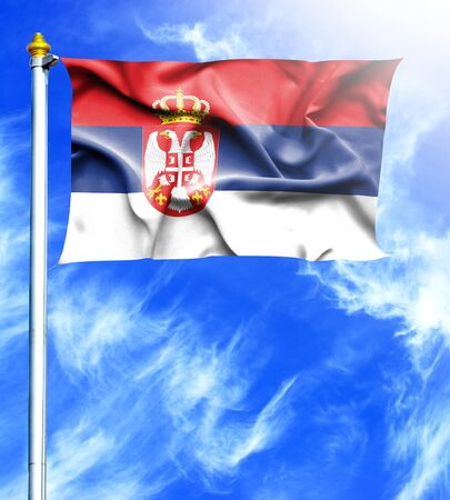 mast: Blue sky and mast with hanged waving flag of Serbia