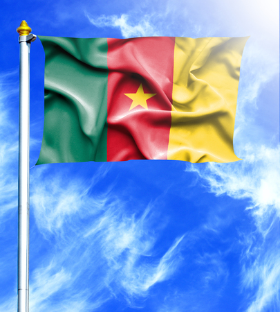 mast: Blue sky and mast with hanged waving flag of Cameroon Stock Photo