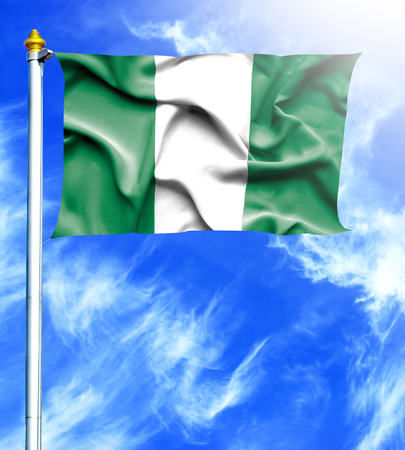 hanged: Blue sky and mast with hanged waving flag of Nigeria