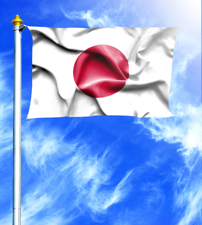 hanged: Blue sky and mast with hanged waving flag of Japan
