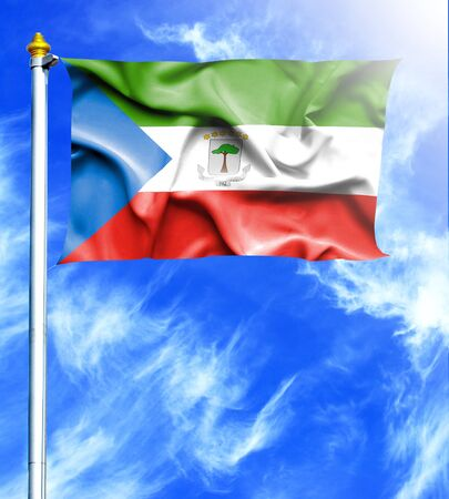 mast: Blue sky and mast with hanged waving flag of Equatorial Guinea