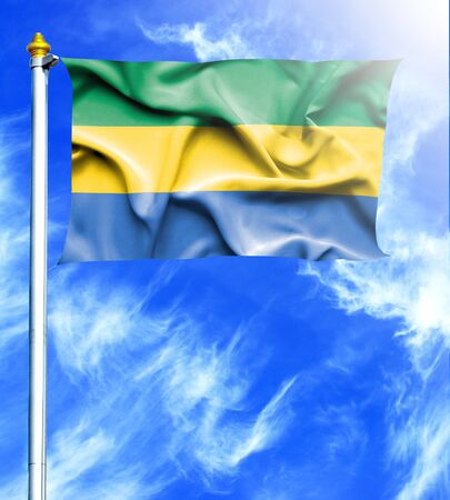 hanged: Blue sky and mast with hanged waving flag of Gabon