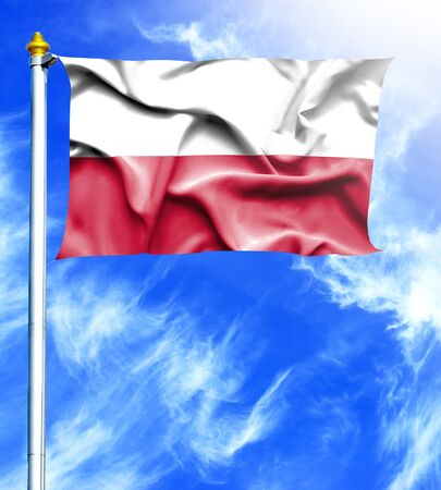 hanged: Blue sky and mast with hanged waving flag of Poland