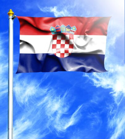 hanged: Blue sky and mast with hanged waving flag of Croatia