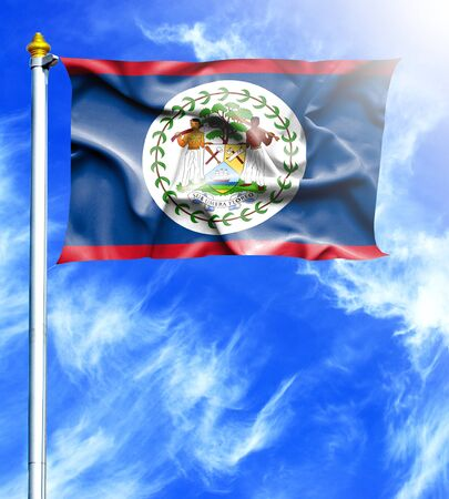 hanged: Blue sky and mast with hanged waving flag of Belize