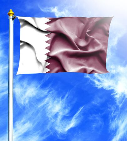 mast: Blue sky and mast with hanged waving flag of Qatar