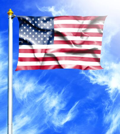 hanged: Blue sky and mast with hanged waving flag of United States of America Stock Photo