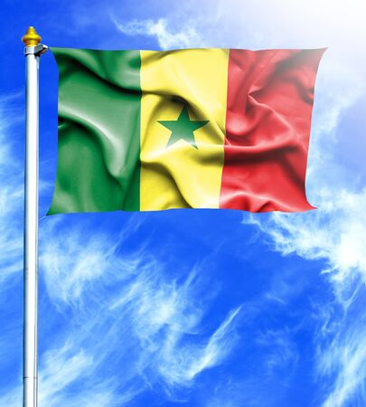 mast: Blue sky and mast with hanged waving flag of Senegal Stock Photo