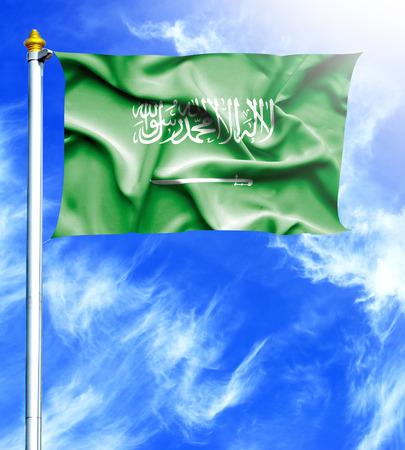 hanged: Blue sky and mast with hanged waving flag of Saudi Arabia