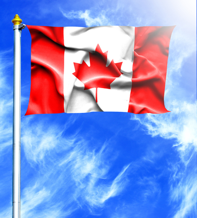 hanged: Blue sky and mast with hanged waving flag of Canada Stock Photo