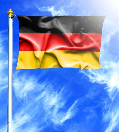 mast: Blue sky and mast with hanged waving flag of Germany
