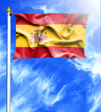hanged: Blue sky and mast with hanged waving flag of Spain