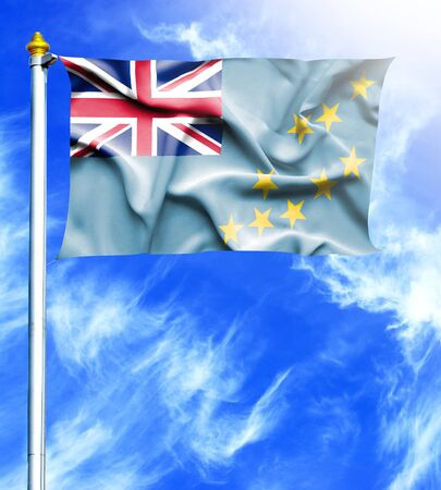 mast: Blue sky and mast with hanged waving flag of Tuvalu