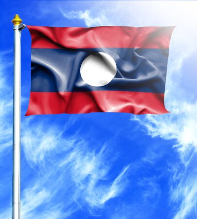 mast: Blue sky and mast with hanged waving flag of Laos Stock Photo