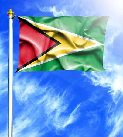 hanged: Blue sky and mast with hanged waving flag of Guyana