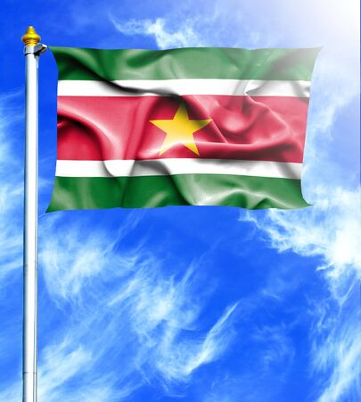 mast: Blue sky and mast with hanged waving flag of Suriname