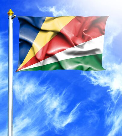 hanged: Blue sky and mast with hanged waving flag of Seychelles