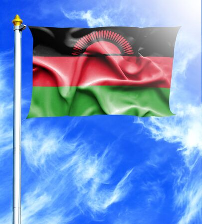 mast: Blue sky and mast with hanged waving flag of Malawi Stock Photo