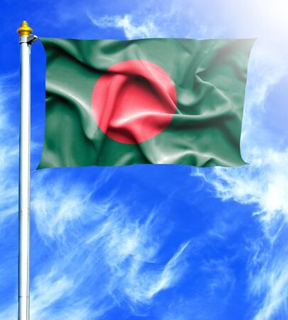 mast: Blue sky and mast with hanged waving flag of Bangladesh