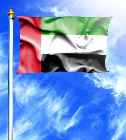 mast: Blue sky and mast with hanged waving flag of UAE