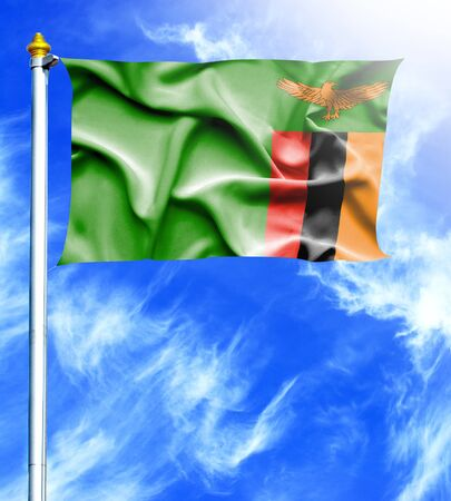 mast: Blue sky and mast with hanged waving flag of Zambia Stock Photo