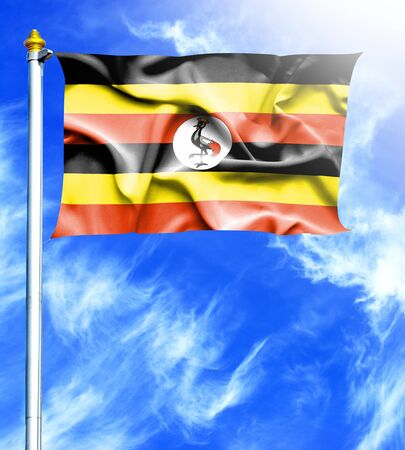 mast: Blue sky and mast with hanged waving flag of Uganda