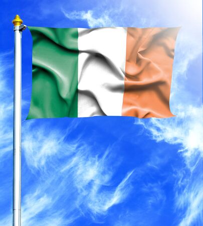 mast: Blue sky and mast with hanged waving flag of Ireland