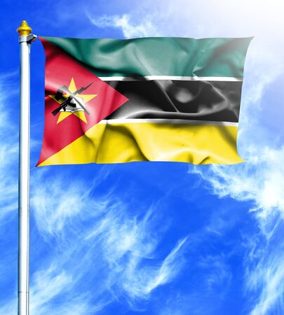 hanged: Blue sky and mast with hanged waving flag of Mozambique Stock Photo
