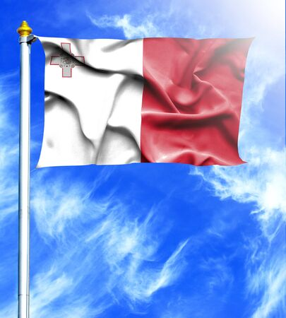 hanged: Blue sky and mast with hanged waving flag of Malta