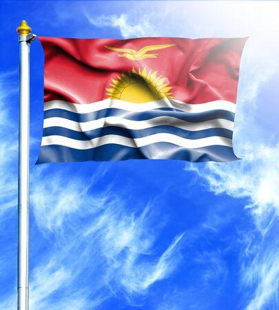 kiribati: Blue sky and mast with hanged waving flag of Kiribati Stock Photo