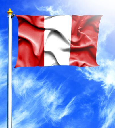 hanged: Blue sky and mast with hanged waving flag of Peru Stock Photo