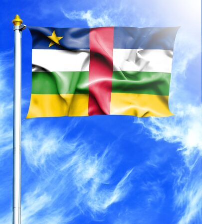 hanged: Blue sky and mast with hanged waving flag of Central African Republic Stock Photo