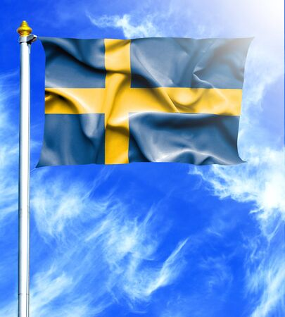 hanged: Blue sky and mast with hanged waving flag of Sweden Stock Photo