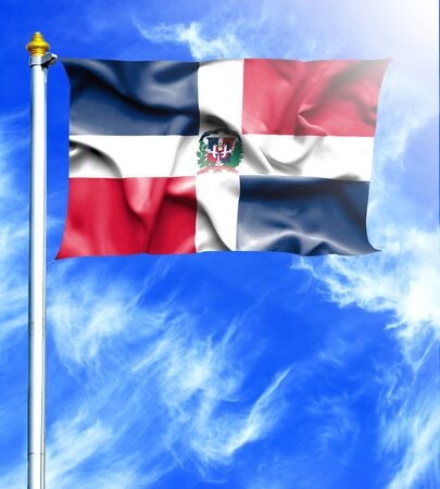 hanged: Blue sky and mast with hanged waving flag of Dominican Republic